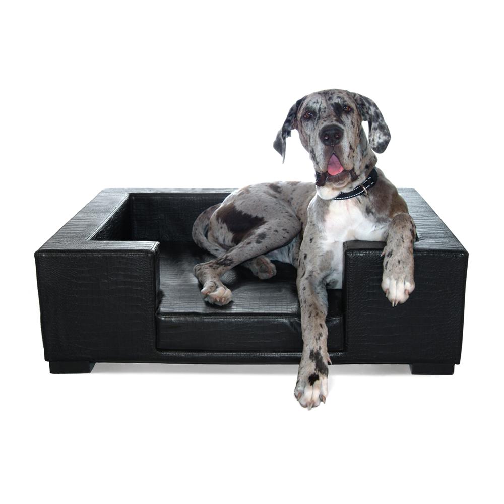 Luigi Designer Dog Bed In Croco Black Unique Dog Beds