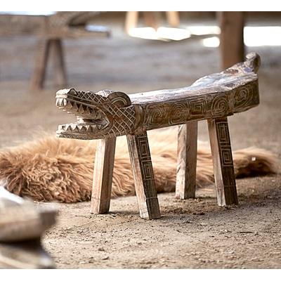 WOODEN CROCODILE BENCH & FOOT STOOL