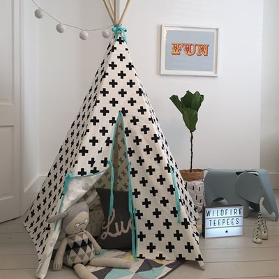 WILDFIRE KIDS TEEPEE in Crosses with Seafoam Trim