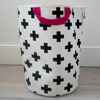 WILDFIRE KIDS TOY STORAGE BAG in Crosses with Pink Handles