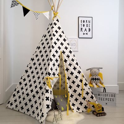 WILDFIRE KIDS TEEPEE in Crosses with Yellow Trim