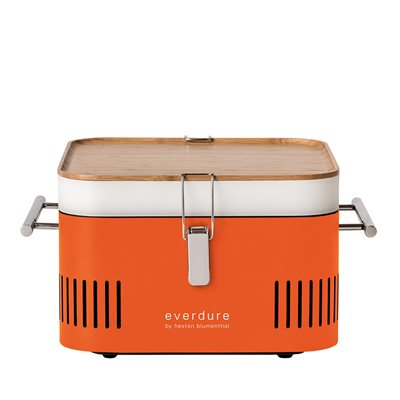 EVERDURE BY HESTON BLUMENTHAL CUBE PORTABLE CHARCOAL BBQ in Orange