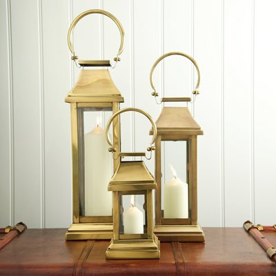 CULINARY CONCEPTS MEDIUM STATION LANTERN in Brass Antique Stainless Steel