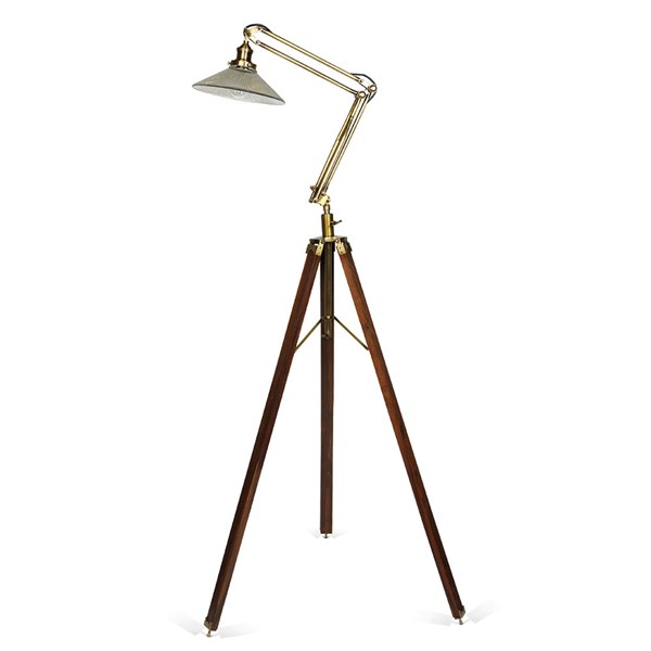 Culinary Concepts Library Floor Standing Tripod Lamp with Glass Shade