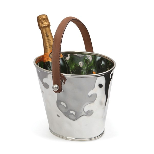 Silver Plated Ice Bucket with Hammered Finish