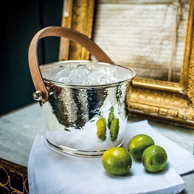CULINARY CONCEPTS LUXURY ICE BUCKET with Leather Handle and Champagne Hammered Finish
