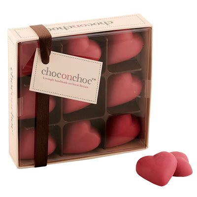 VALENTINES CHOCOLATES with Pink Chocolate Hearts