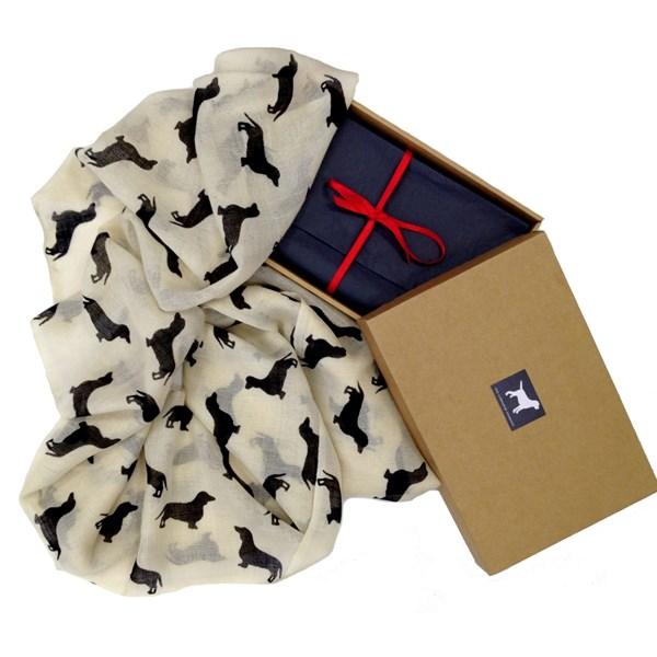 Dachshund Animal Print Cashmere Scarf in a Gift Box