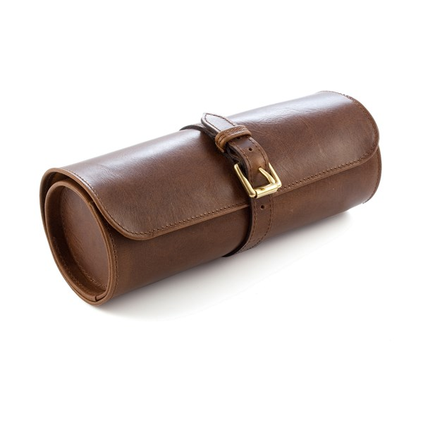 DAINES & HATHAWAY Leather Travel Watch Roll in Rusty Blaze