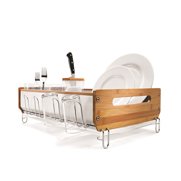 DISH RACK Bamboo and Stainless Steel