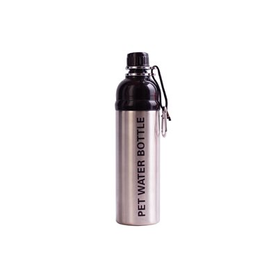 DOG WATER BOTTLE 750ml in Silver by Long Paws