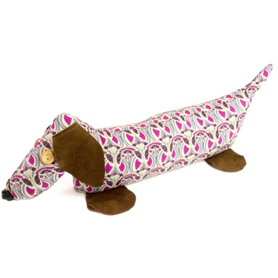 DACHSHUND LIBERTY PRINT LAVENDER DOORSTOP Mauverina Cotton & Leather