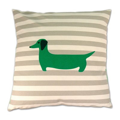 LUXURY CUSHION in Green Dachshund Design