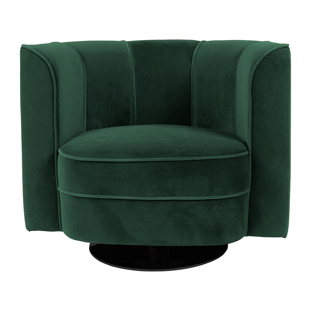 Dark Green Velvet Look Tub Chair With Swivel