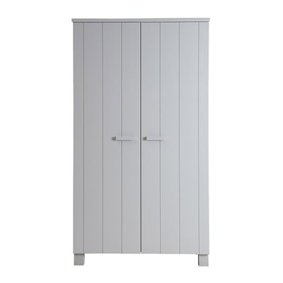 DENNIS KIDS CONTEMPORARY PINE WARDROBE in Concrete Grey