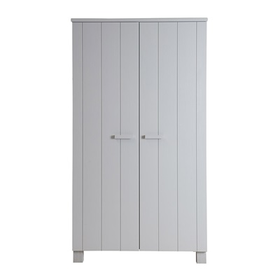 Dennis Kids Contemporary Pine Wardrobe in Concrete Grey by Woood