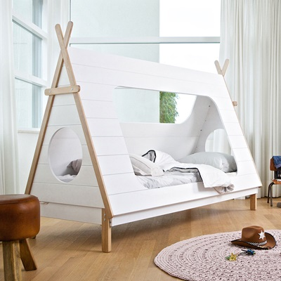 Kids Teepee Cabin Bed In White Solid Pine Cabin Beds Cuckooland