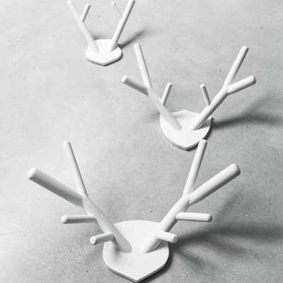 WOODEN DECORATIVE DEER ANTLERS in White
