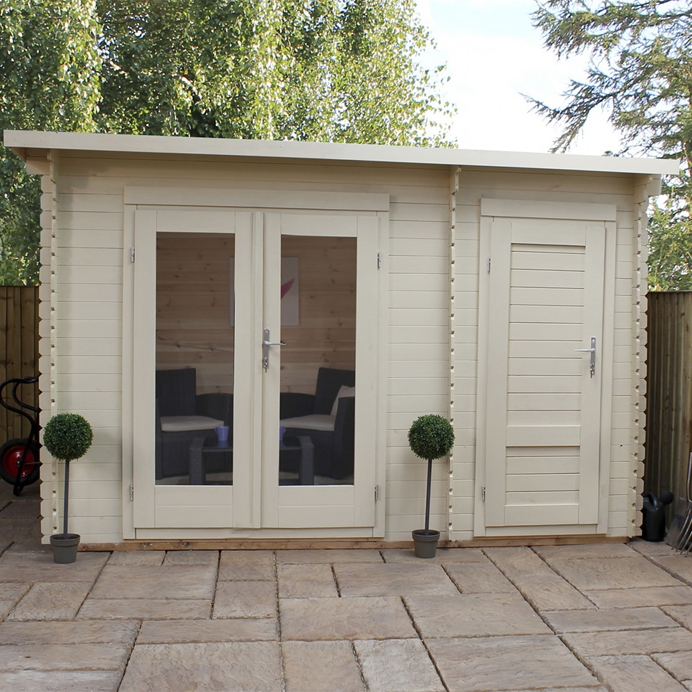 Delamere log cabin with storage shed log cabins cuckooland for Garden office and storage