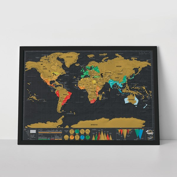 Gold Foil Deluxe Travel Scratch Map