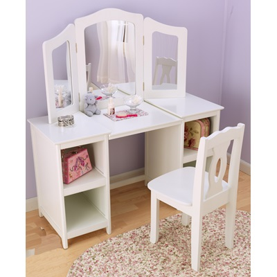 KIDS DELUXE VANITY AND CHAIR in White