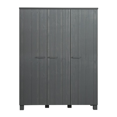 Dennis Kids Contemporary Triple Wardrobe in Steel Grey by Woood
