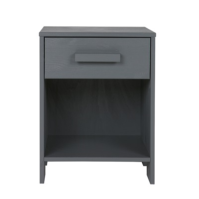 Dennis Kids Bedside Table with Drawer in Steel Grey by Woood