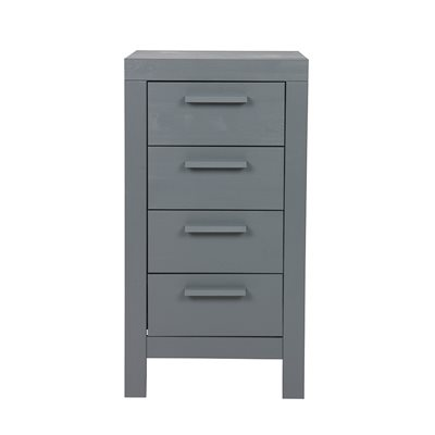 Dennis Narrow Chest of Drawers in Steel Grey by Woood