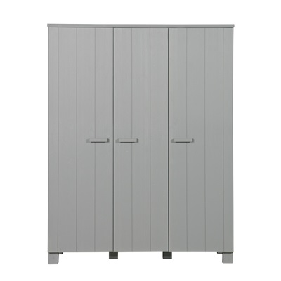 Dennis Kids Contemporary Triple Wardrobe in Concrete Grey by Woood