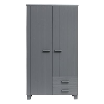Dennis Kids Wardrobe with Drawers in Steel Grey by Woood
