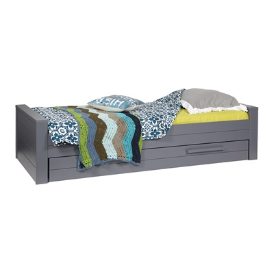 DENNIS KIDS SINGLE BED WITH TRUNDLE DRAWER in Steel Grey