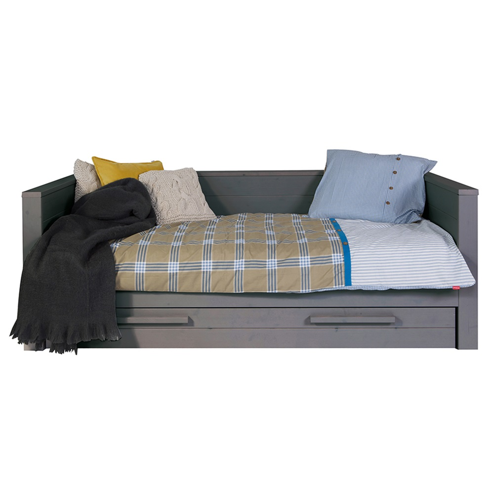 Dennis Day Bed With Trundle Drawer In Steel Grey Kids Beds Cuckool