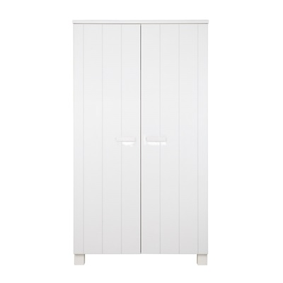 Dennis Kids Contemporary Pine Wardrobe in White by Woood