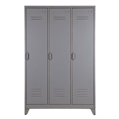 MAX METAL LOCKER 3 DOOR CABINET in Dove Grey