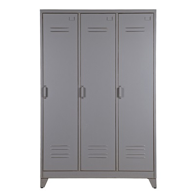 Max Metal Locker 3 Door Cabinet in Dove Grey by Woood