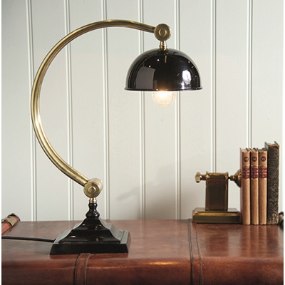 CURVED STUDY LAMP in Antique Brass Finish