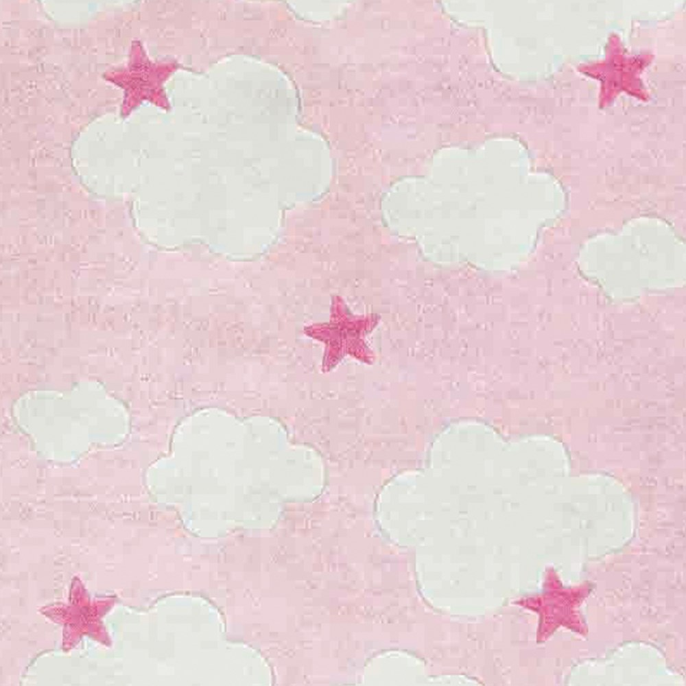 Clouds & Stars Childrens Rug In Pink