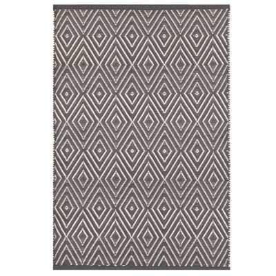 INDOOR OUTDOOR DIAMOND RUG in Graphite & Ivory