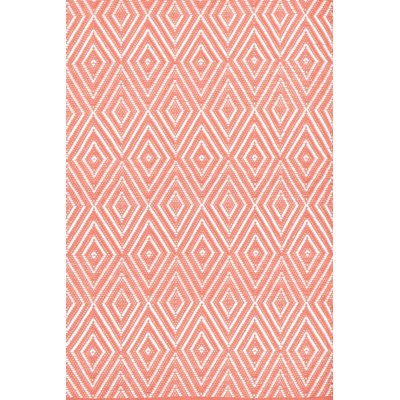 INDOOR OUTDOOR DIAMOND RUG in Coral & White