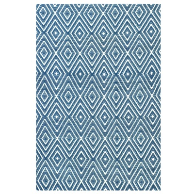 INDOOR OUTDOOR DIAMOND RUG in Denim Blue & White