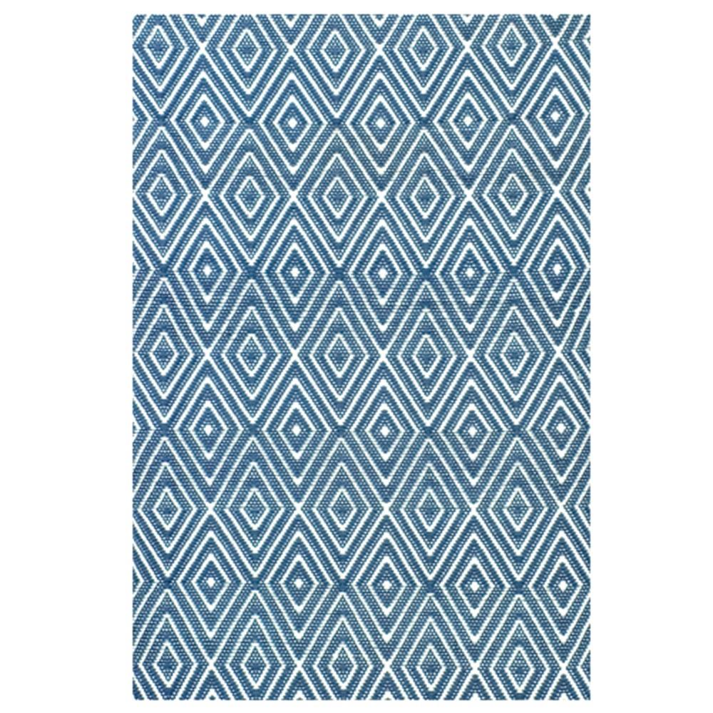 Indoor outdoor diamond rug in denim blue white indoor for Blue indoor outdoor rug