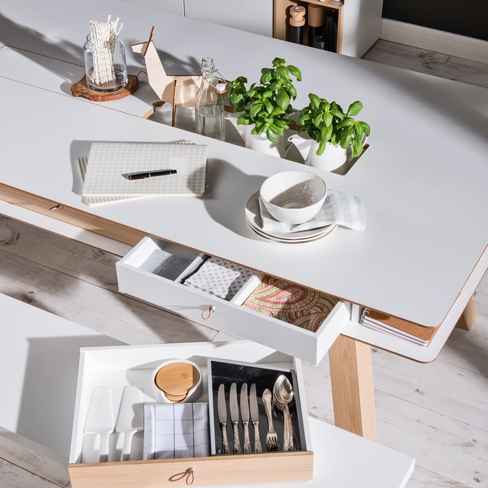 4you Dining Table With Hidden Container In White Dining