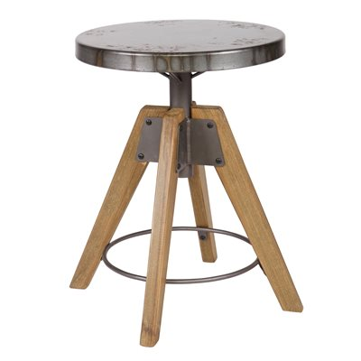 DISC INDUSTRIAL STOOL & SIDE TABLE in Wood & Metal