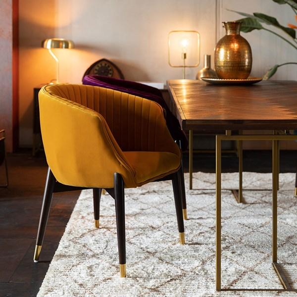 Velvet Upholstered Dining Room Chair