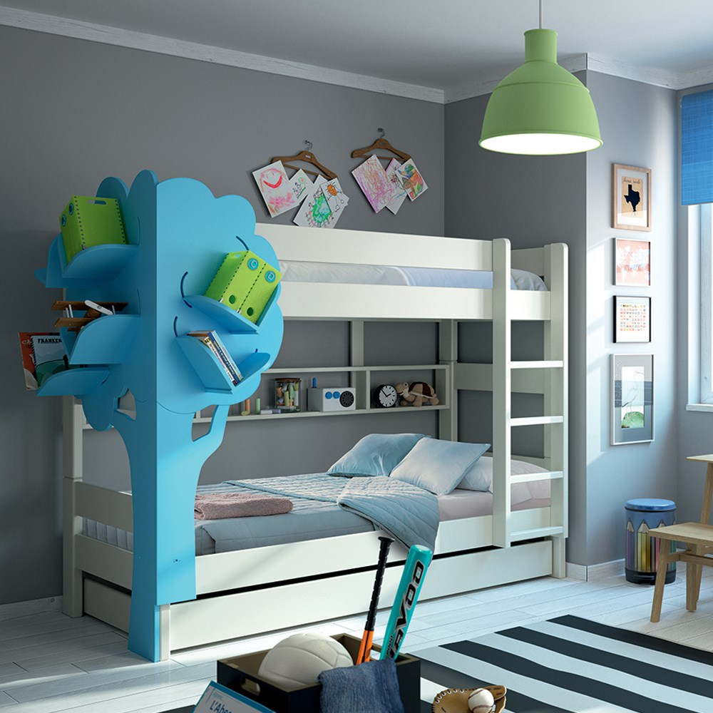 Kids Bunk Bed With Trundle Drawer And Tree Bookshelf By Mathy Bols