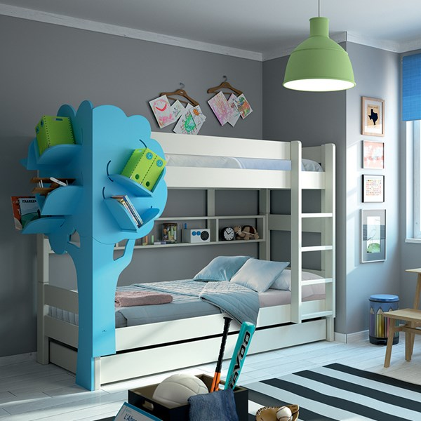 Kids Bunk Bed with Trundle Drawer and Tree Bookshelf by Mathy By Bols