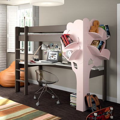 KIDS HIGH SLEEPER BED WITH DESK AND TREE BOOKCASE in Linen and Pink