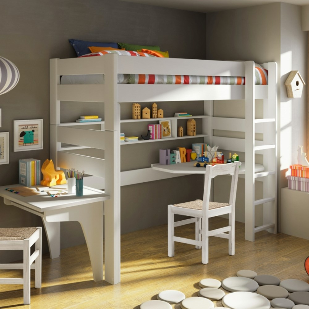 Mathy by Bols Raised Kids Bed with Corner Desk in Dominique Design