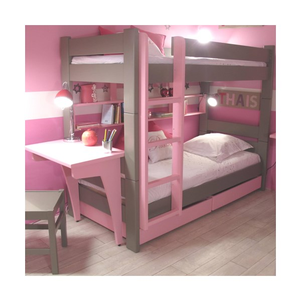 Quirky Childrens Bunk Bed with Drawers & Desk in Dominque Design