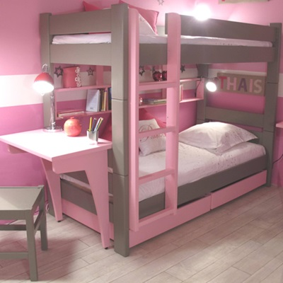KIDS BUNK BED WITH DRAWERS & DESK in Dominique Design.
